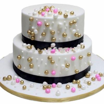 Pink Gold White Balls Cake