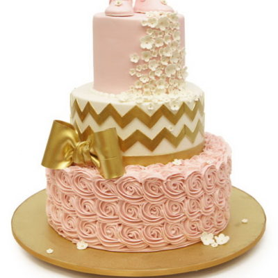 Gold Chevron and Pink Ruffled Cake