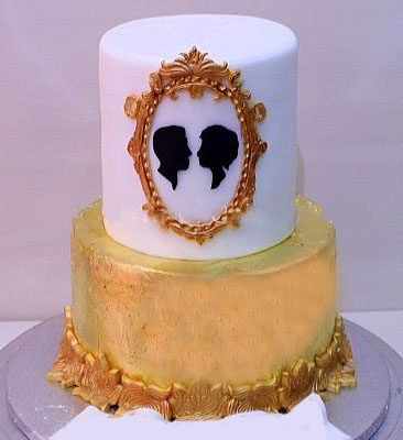 Gold white Couple Frame Cake