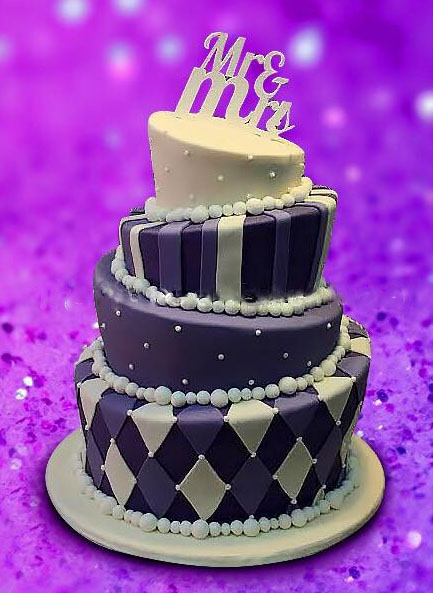 Purple White Topsy Anniversary Cake Free delivery in Lahore.