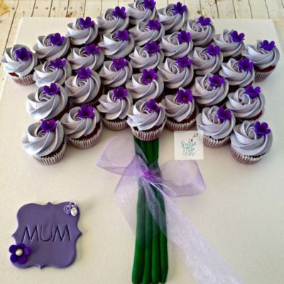 Purple Theme Bouquet Mother's Day Cupcake