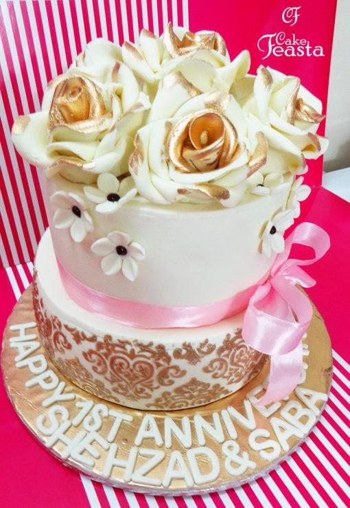 Off White Golden Flowers Anniversary Cake