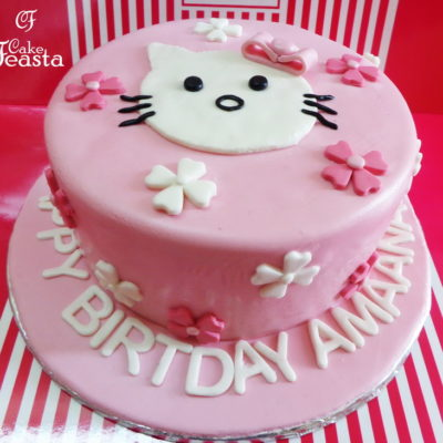White Cat Birthday Cake in Lahore