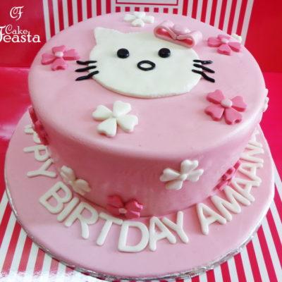 White Cat Birthday Cake in Lahore