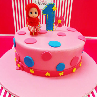 Pink Doll Birthday Cake