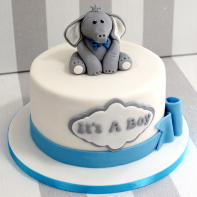 Grey Elephant Baby Shower Cake in Lahore