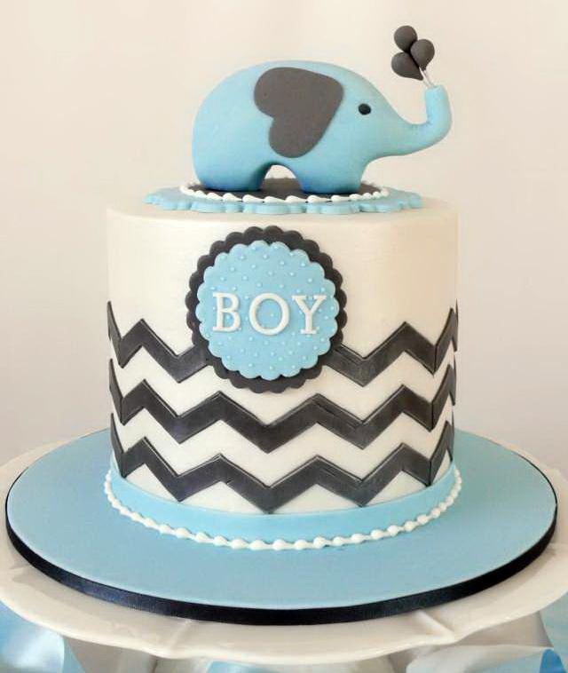 Awesome Blue Elephant Baby Shower Cake