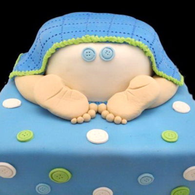 Blue Theme Bum Baby Shower Cake in Lahore.
