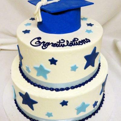 Blue Stars Graduation Cake