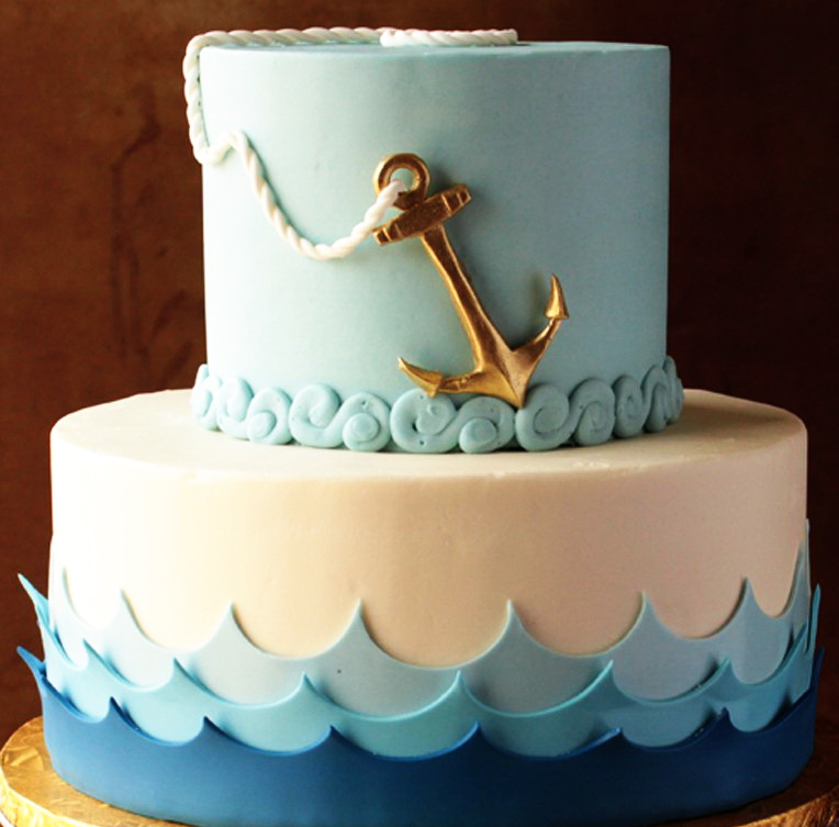 2 Tier Anchors Aweigh Cake