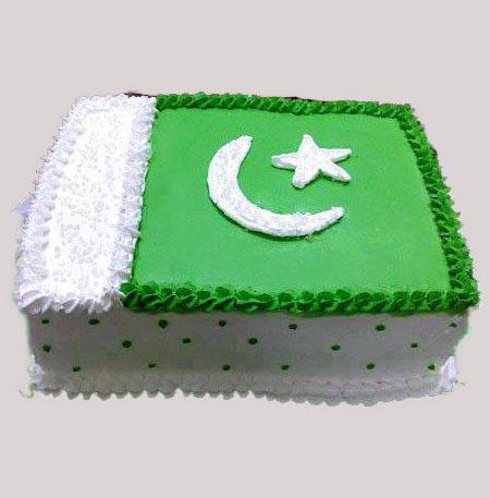 Pak Flag Design 14 Aug Cake in lahore
