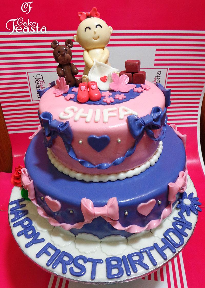 Ribbon 1st Birthday Cake In Lahore