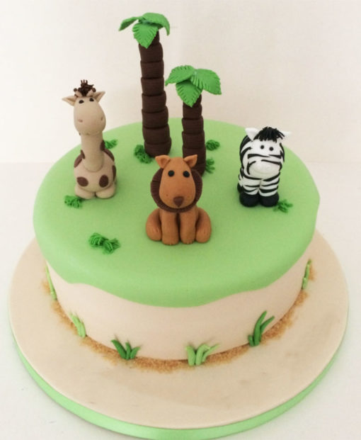 Safari Animals Green Theme Cake in lahore