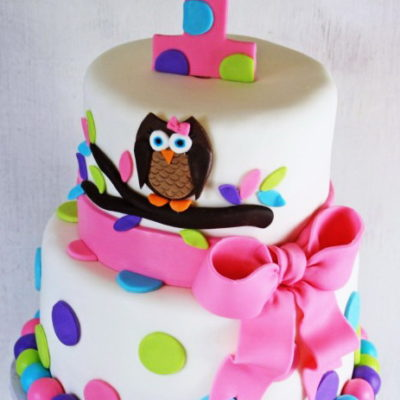 Owl with Pink Ribbon Cake in lahore