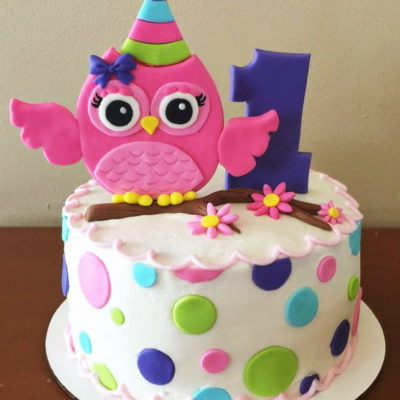 Owl Pink Theme Cake character cakes in lahore