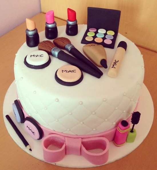 MAC White Theme Makeup Cake - Customized Cakes in Lahore
