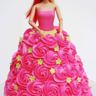 Barbie Roses Dress Cake character cakes in lahore