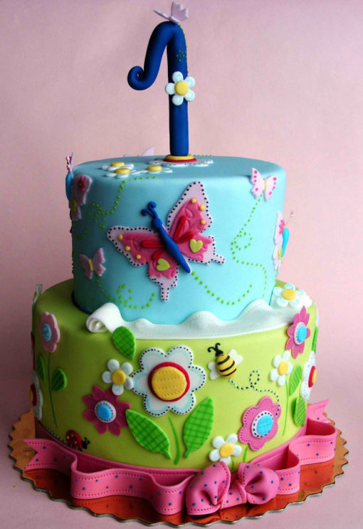 Flowers Butterfly 2 Tier Cake in Lahore