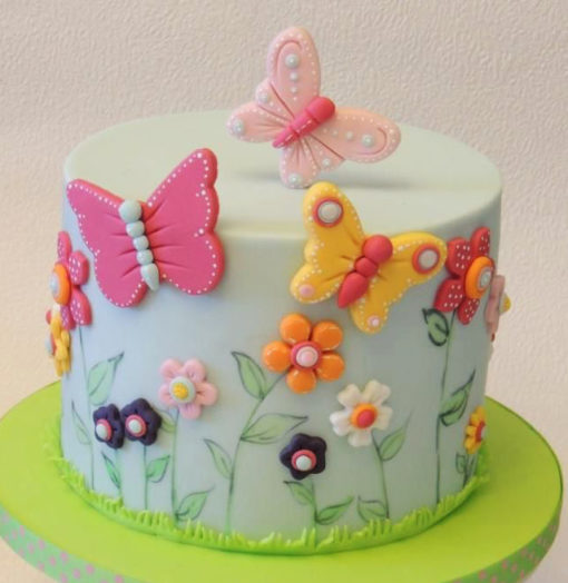 Flowers Butterfly Green Theme Cake in Lahore