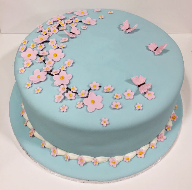 Flowers Butterfly Blue Theme Cake in Lahore