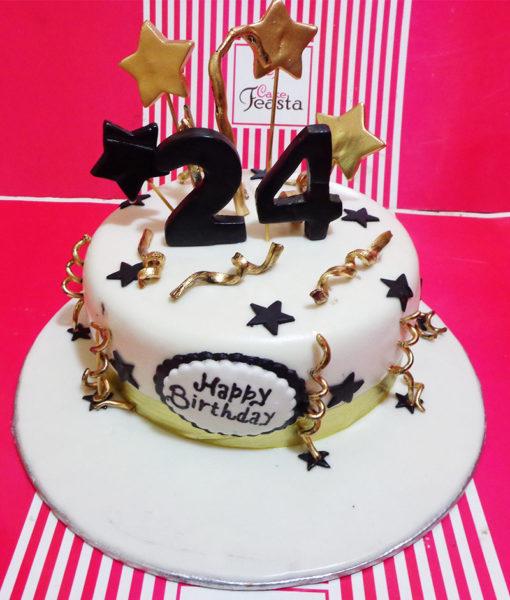 Gold Stars Birthday Cake in Lahore