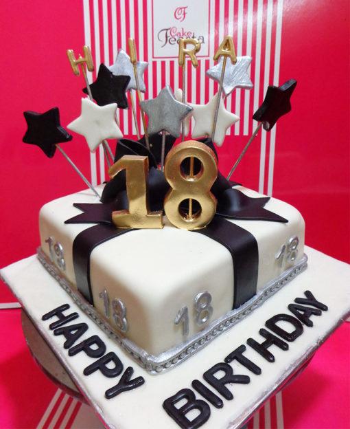 Black Ribbon Birthday Cake in Lahore