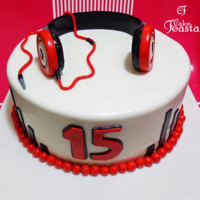 Red Headphones Birthday Cake in Lahore