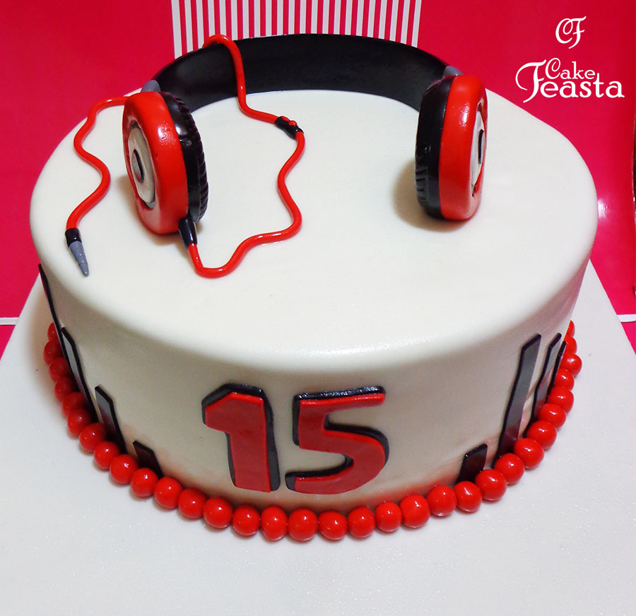 Red Headphones Birthday Cake In Lahore