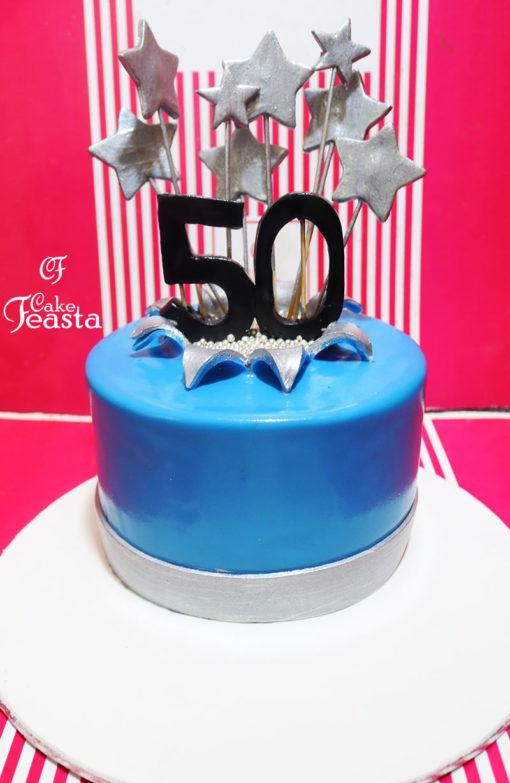 White Stars Birthday Cake in lahore