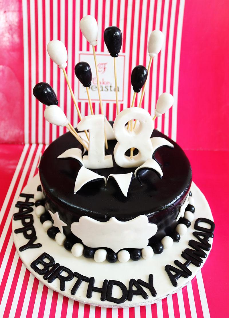 White Black Balloons Birthday Cake in Lahore