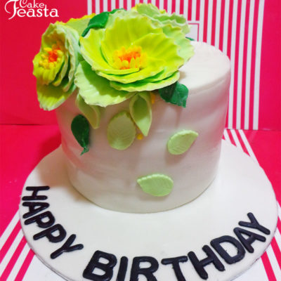 Green Flowers Birthday Cake in Lahore