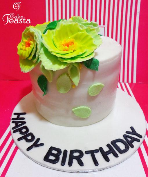 Green Flowers Birthday Cake in Lahore