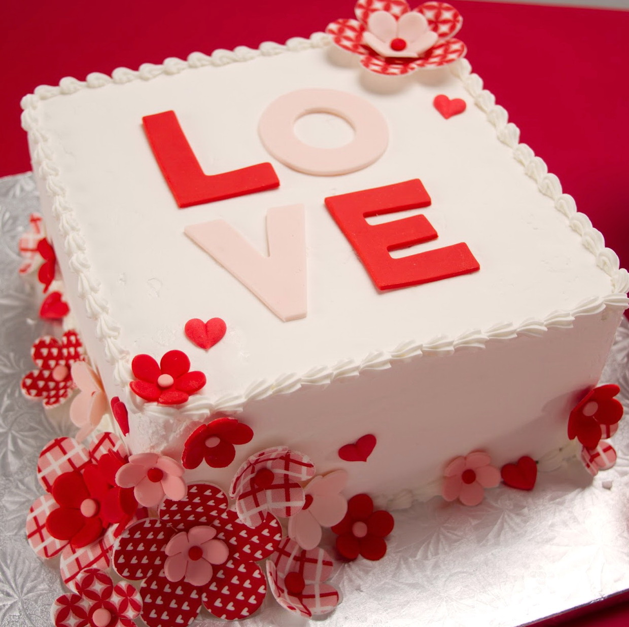 Schön Love Flowers Valentines Day Cake