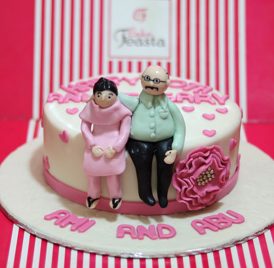 Mom Dad Anniversary Cake Fondant Cakes In Lahore Free Delivery