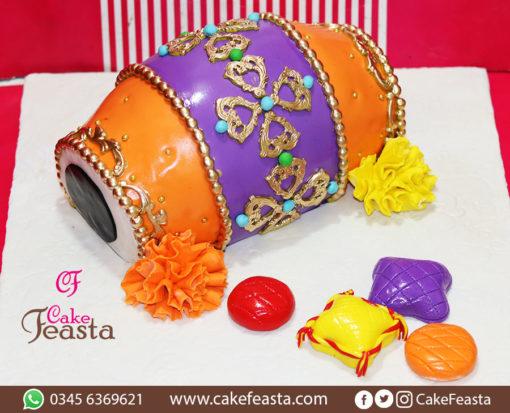 Orange Purple Dholki Cake in Lahore