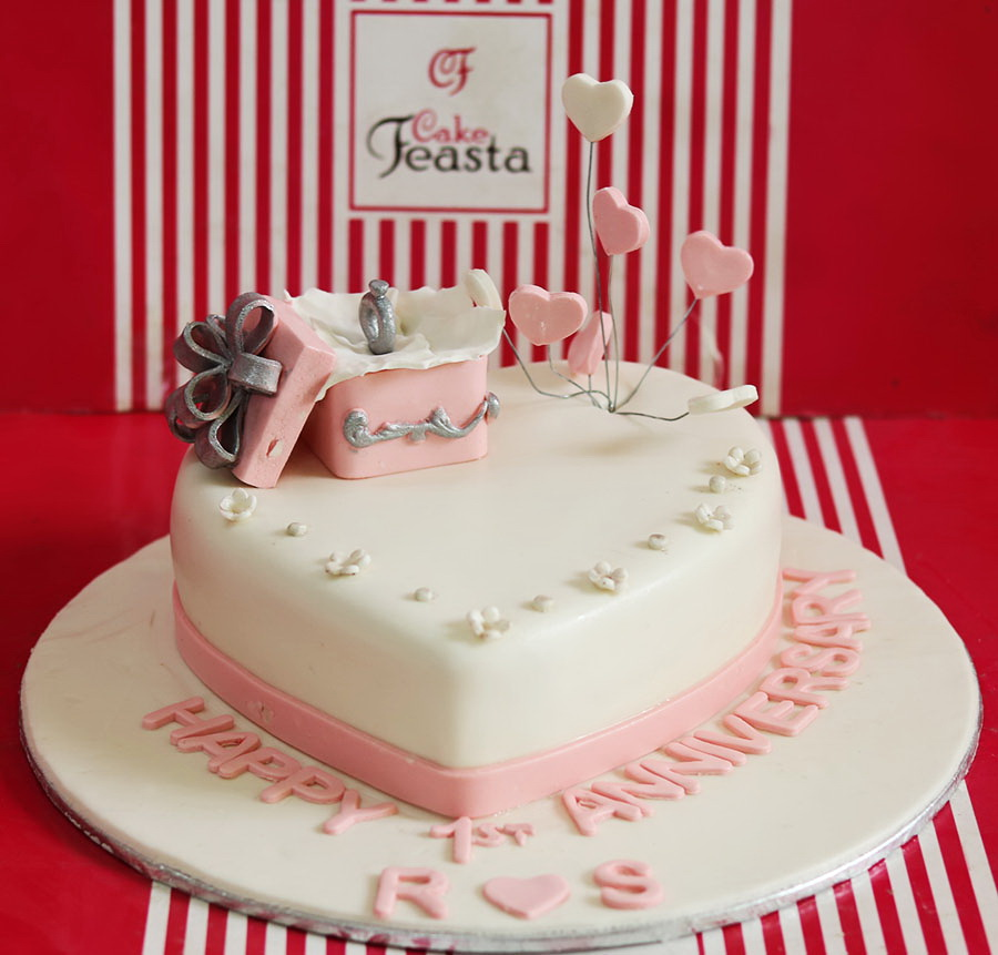 Ring Pink Theme Anniversary Cake in Lahore