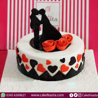 Rose Hearts Anniversary Cake in Lahore