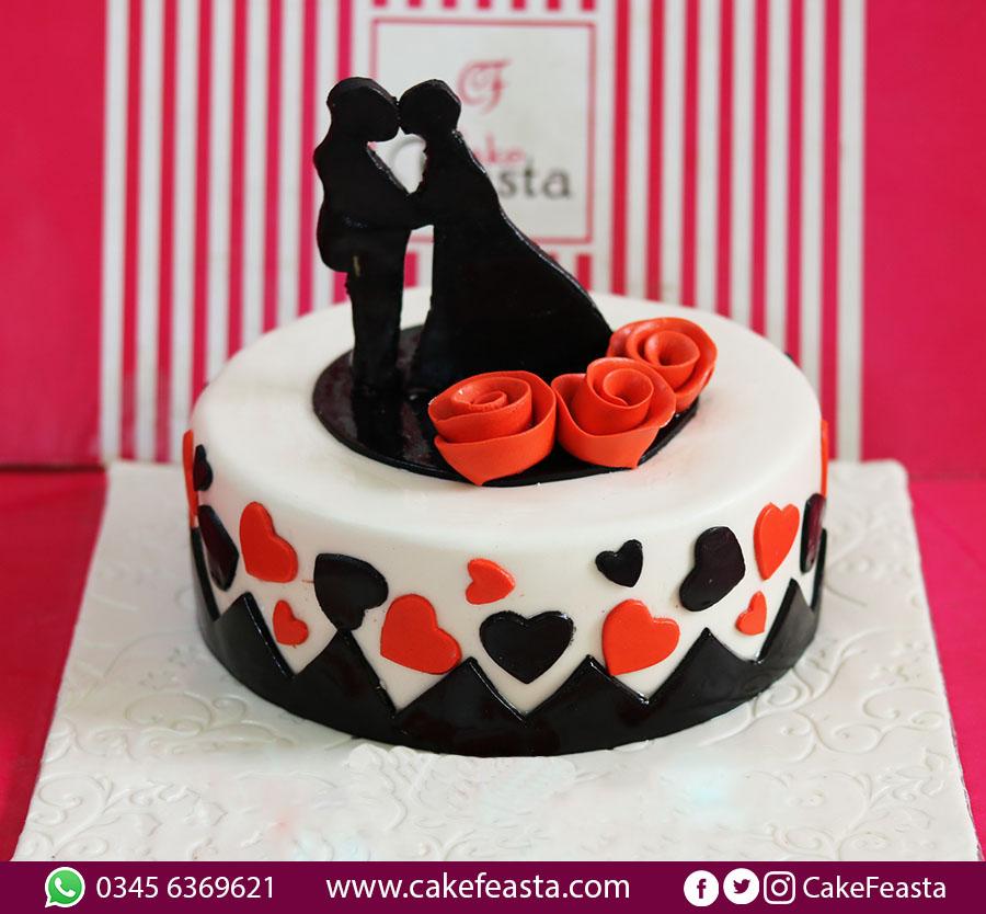 Rose Hearts Anniversary Cake