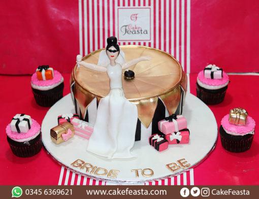White Dress Bride Wedding Cake in Lahore