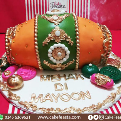 Yellow Green Dholki Cake in Lahore