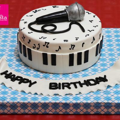 Black Mic Sound Music Cake