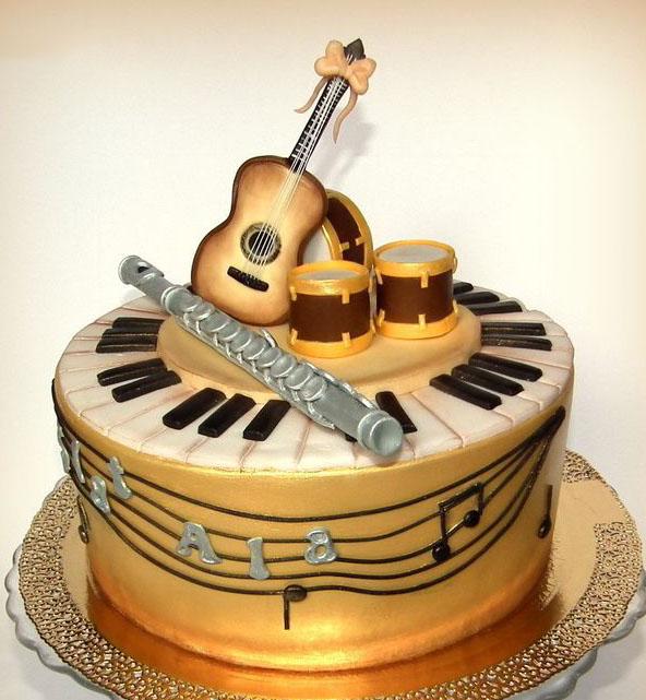 Birthday Cake Designs With Guitars On