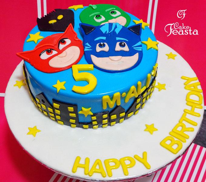 Mask Cartoons Birthday Cake