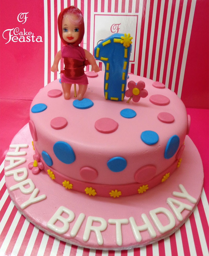 Pink Doll Birthday Cake Customized Cakes In Lahore