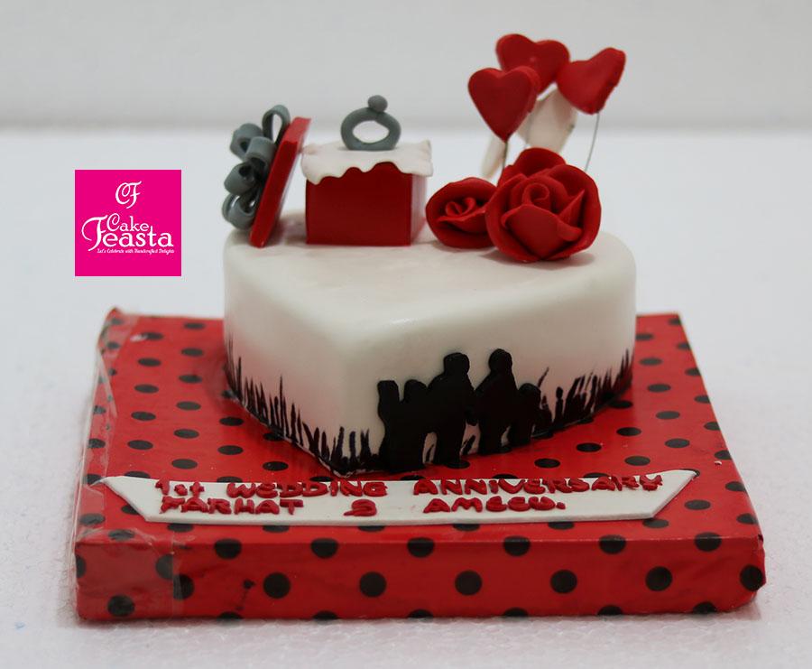 Red Ring Box Anniversary Cake