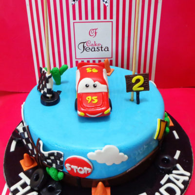 95 Car Blue Track Birthday Cake