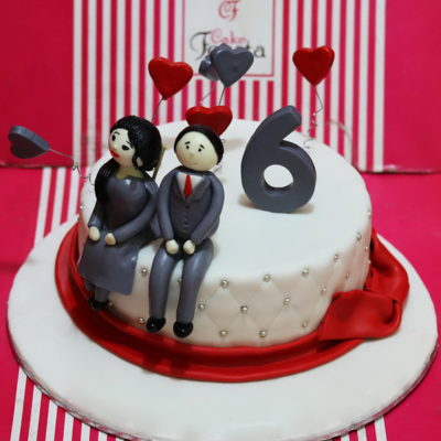 Couple Red Hearts Anniversary Cake