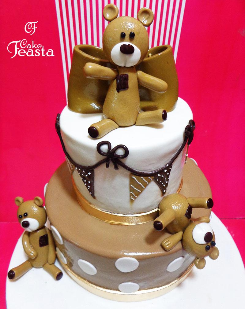 Brown Teddy Bears Kids Birthday Cake