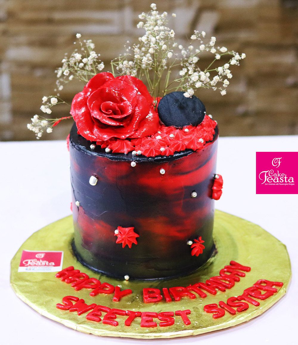 Red Black Flower Birthday Cake Customized Cakes In Lahore