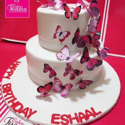 2 Tier Butterfly Theme Birthday Cake